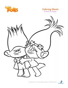 Trolls coloring branch and poppy