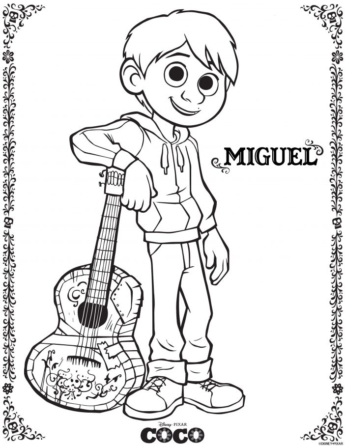 Disney Coco Miguel coloring sheet