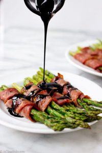 Bacon Wrapped Asparagus with Lemon Balsamic Reduction