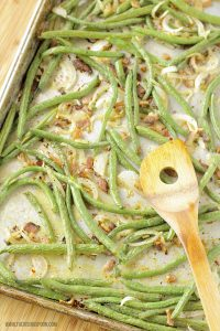 Roasted Green Beans with Bacon & Onion