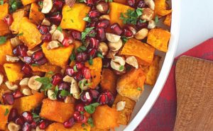 Roasted Squash with Hazelnuts and Pomegranate